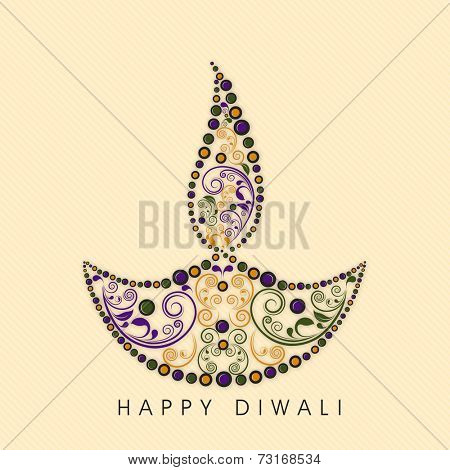 Illustration of a colorful designer lampion with stylish text on seamless background.