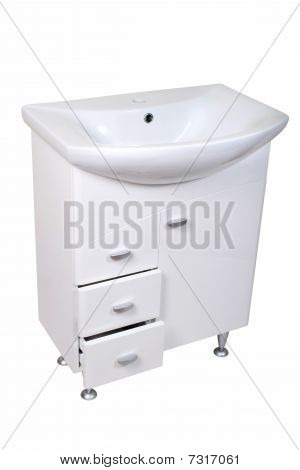 Porcelain Washstand With A Base Isolated On White