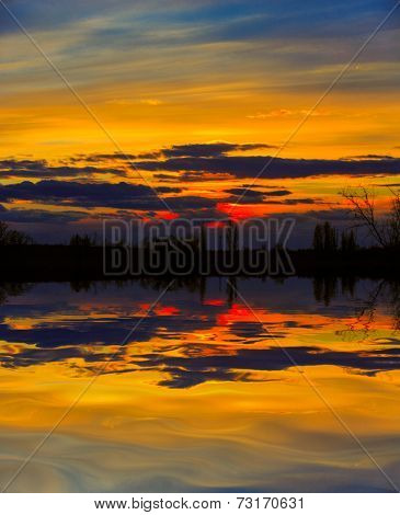 Evening scene over water surface
