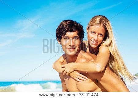 Attractive Good Looking Couple On Beautiful Sunny Beach