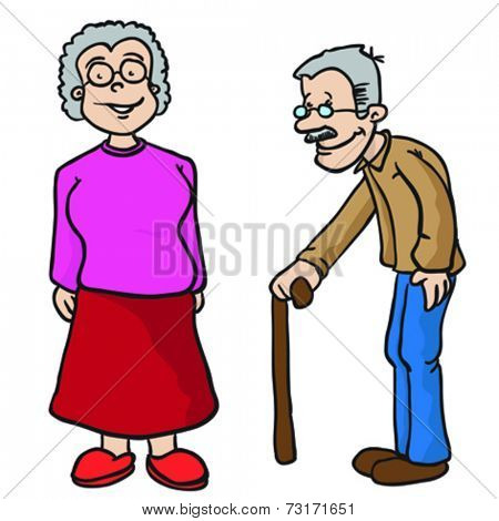grandparents cartoon illustration isolated on white
