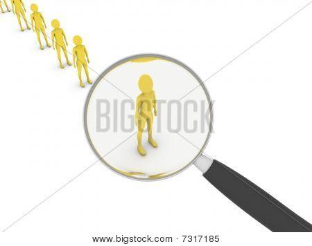 Man Under Magnifier