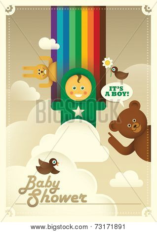Colorful baby shower illustration with comic animals. Vector illustration.