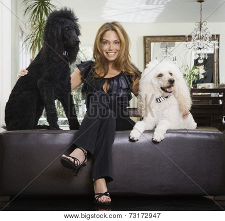 Hispanic woman with dogs