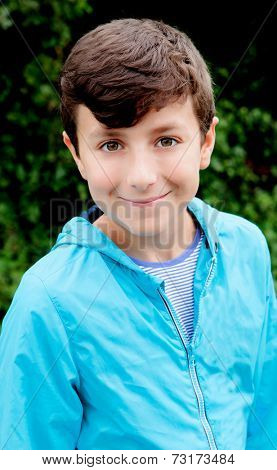 Nice preteen boy smiling isolated on a white background