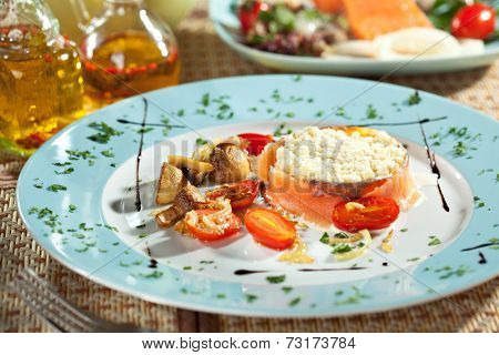 Scrambled Eggs with Less Salt Salmon, Fried Mushrooms, Onions and Cherry Tomato