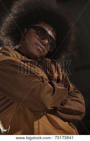 African American male breakdancer posing
