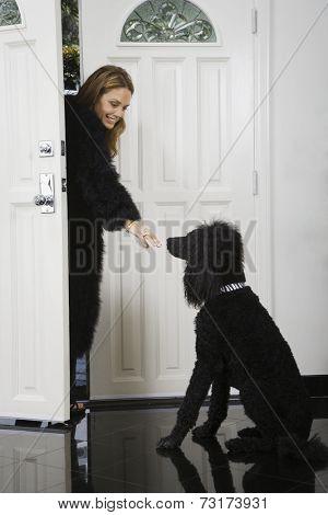 Hispanic woman coming home to dog