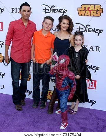 LOS ANGELES - OCT 1:  Michael Saucedo, Rebecca Herbst, Ella Saucedo, Ethan Saucedo, Emerson Truett Saucedo at the VIP Disney Halloween Event at Disney Pop Up Store on October 1, 2014 in Glendale, CA