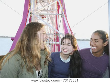 Multi-ethnic girls on Ferris wheel
