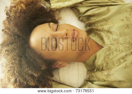 African American woman wearing silk robe