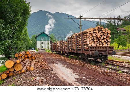 Train with wood transport on the small station in Austria