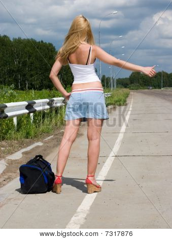 Young Woman On Highway.