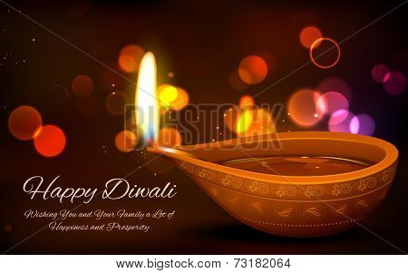 illustration of burning diya on Diwali Holiday background
