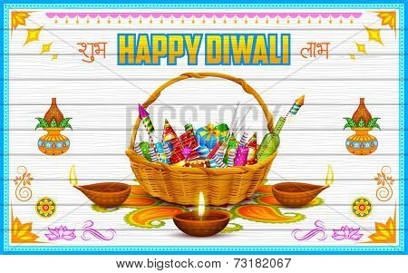 illustration of Happy Diwali Background with firecracker and diya