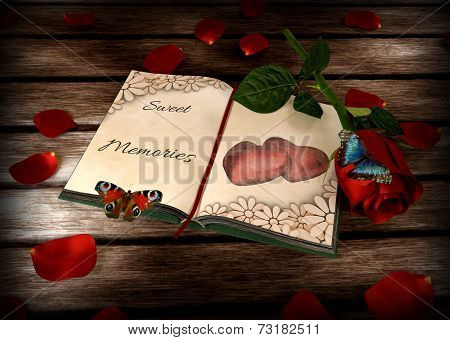memories concept - book, rose and butterflies on wooden table