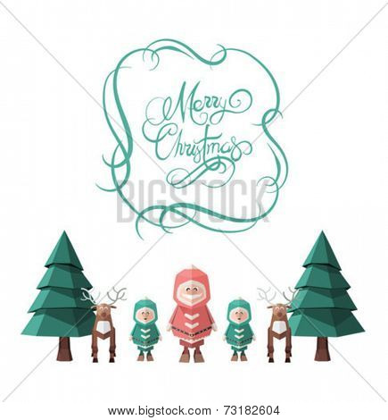 Merry christmas message vector with cute illustrations on white background