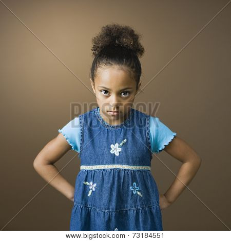 African American girl with hands on hips