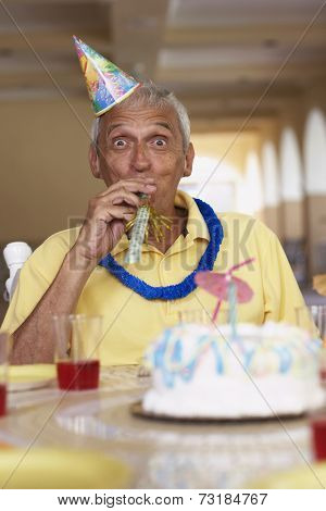 Senior man celebrating birthday