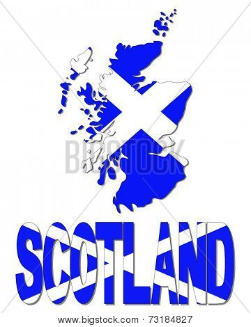 Scotland map flag and text vector illustration