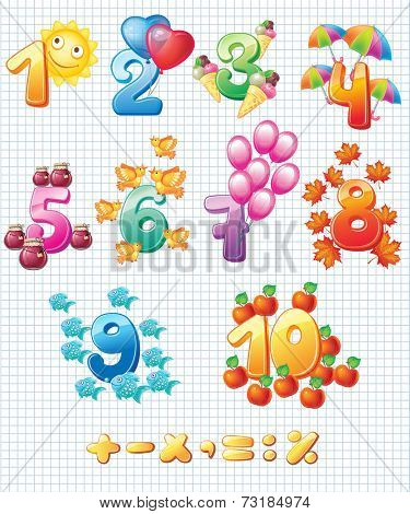 Colorful numbers for children