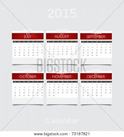 Simple 2015 year calendar (July, August, September, October, November, December). Vector illustration.