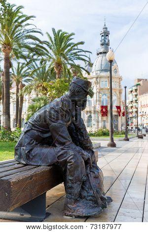 Cartagena Marinero de Reemplazo sailor memorial in Murcia Spain statue in public garden