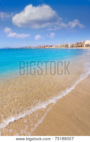 Aguilas beach Murcia Poniente bay at Mediterranean sea of Spain