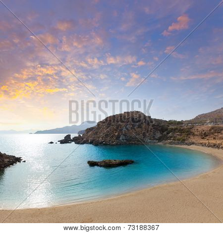 Cartagena Cala Cortina beach sunset in Mediterranean Murcia at Spain