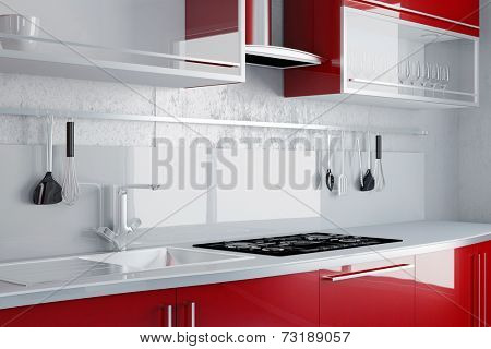 New red kitchen with sink and stove on a wall