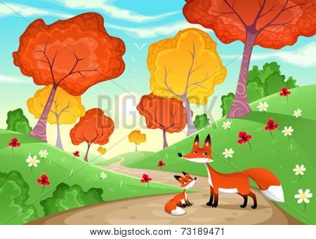 Landscape with family of foxes. Cartoon and vector illustration