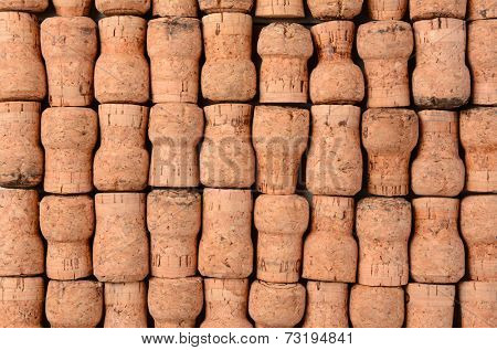Closeup of a group of Champagne Corks. Horizontal format filling the frame.