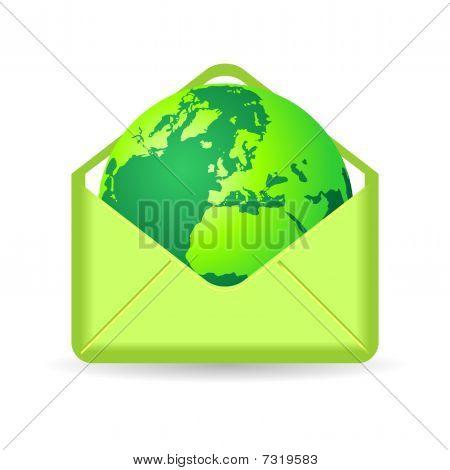 Green Planet Inside Envelope