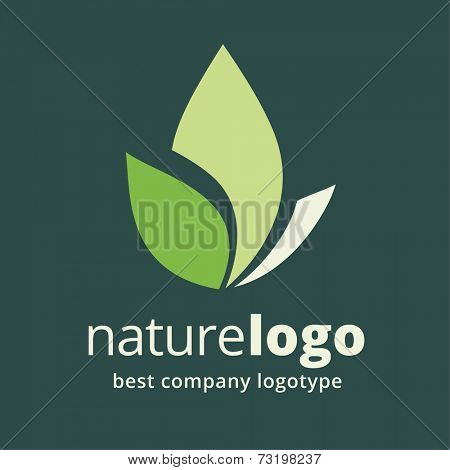 Abstract vector green flower logotype concept isolated on dark background. Key ideas is spa, beauty, design, nature, creative, health. Good for corporate identity and branding