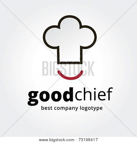 Abstract vector chief cup with smile logotype concept isolated on white background. Key ideas is business, caffe, cookng, food, restaurant, eating. Concept for corporate identity and branding
