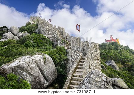 Sintra, Portugal at the Moorish Castle and Pena Palace.