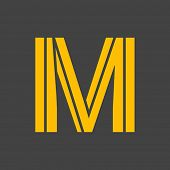 picture of letter m  - Letter M vector alphabet impossible shape - JPG