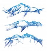 pic of mountain-range  - hand drawn mountain range set - JPG
