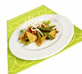stock photo of doritos  - asparagos and bellpepper salad with thai noodles and tortilla chips - JPG