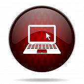 pic of movable  - computer red glossy web icon on white background  - JPG