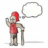 stock photo of arthurian  - cartoon waving knight - JPG