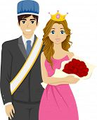 stock photo of pageant  - Illustration Featuring a Couple Chosen as the Homecoming King and Queen - JPG