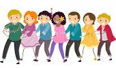 pic of congas  - Illustration Featuring a Group of People in a Conga Line - JPG
