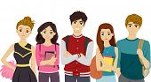 picture of pre-adolescents  - Illustration Featuring Students Representing Different College Cliques - JPG