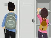 picture of pre-adolescents  - Illustration Featuring Teenage Students Standing in Front of Lockers - JPG