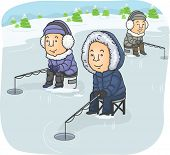 picture of ice fishing  - Illustration Featuring a Group of Men Ice Fishing - JPG