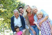 stock photo of grandparent child  - Happy 3 generation family in grandparents - JPG