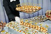 picture of waiter  - Waiter with meat dish serving catering table with food snacks  - JPG