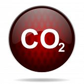 stock photo of carbon-dioxide  - carbon dioxide red glossy web icon on white background - JPG