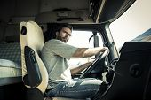 pic of truck-cabin  - Portrait of a truck driver - JPG
